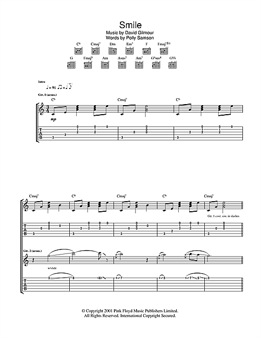Tablature guitare Smile de David Gilmour - Tablature Guitare