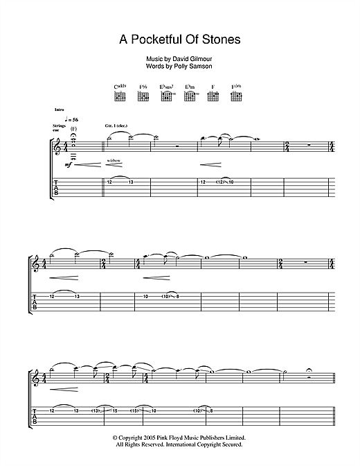 A Pocketful Of Stones Sheet Music