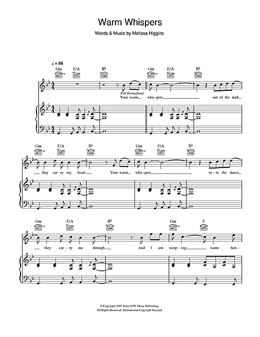 Warm Whispers Sheet Music