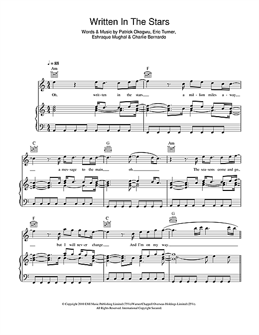 Written In The Stars (feat. Eric Turner) Sheet Music