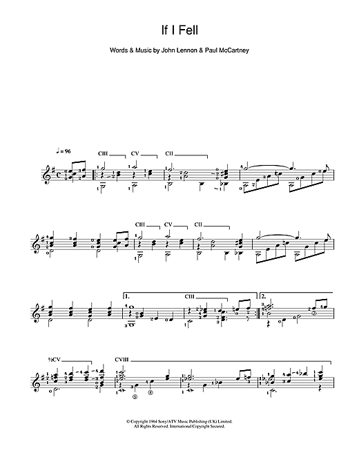 Tablature guitare If I Fell de The Beatles - Guitare Classique