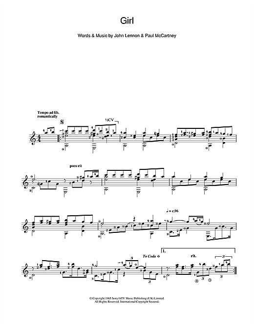 Tablature guitare Girl de The Beatles - Guitare Classique