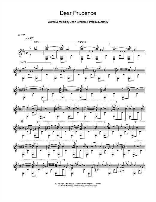 Dear Prudence Sheet Music