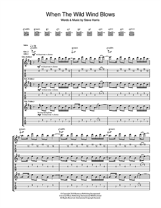 Tablature guitare When The Wild Wind Blows de Iron Maiden - Tablature Guitare