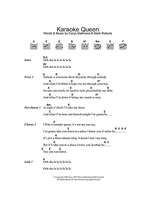 Karaoke Queen (Guitar Chords/Lyrics)