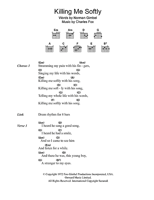 Killing Me Softly With His Song (Guitar Chords/Lyrics)