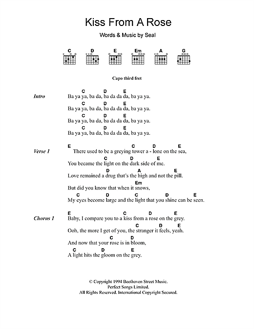 Kiss From A Rose Sheet Music By Seal Lyrics Chords 104567