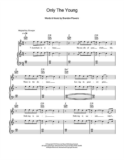 Partition piano Only The Young de Brandon Flowers - Piano Voix Guitare (Mélodie Main Droite)