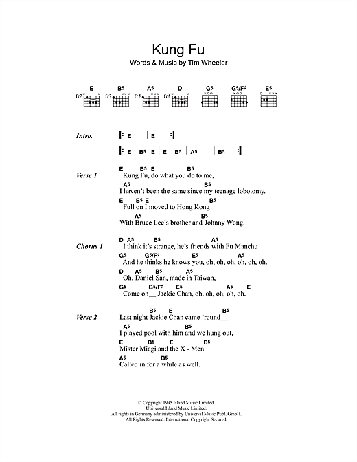 Kung Fu Sheet Music