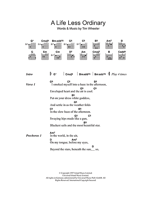 A Life Less Ordinary Sheet Music