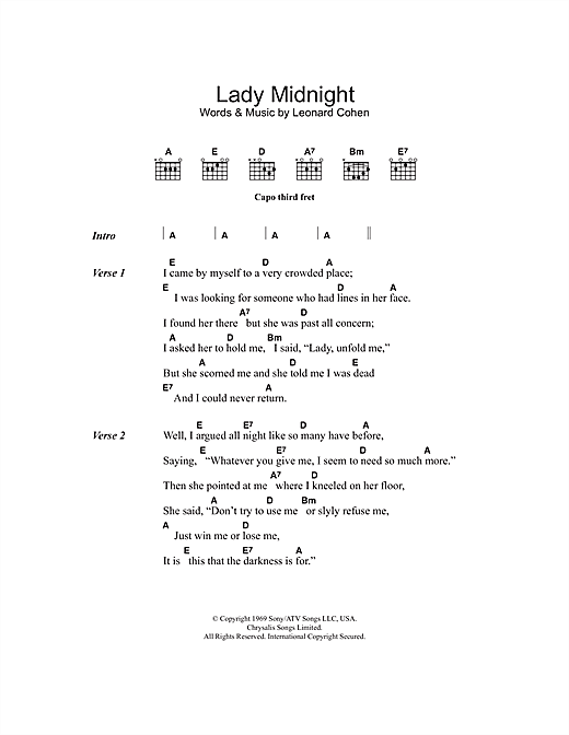 Lady Midnight Sheet Music