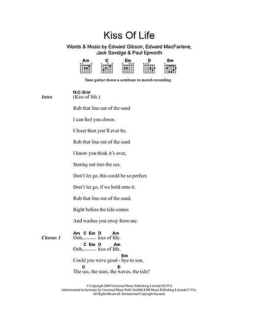 Kiss Of Life (Guitar Chords/Lyrics)