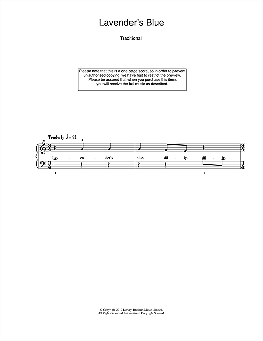 Lavender Blue Sheet Music