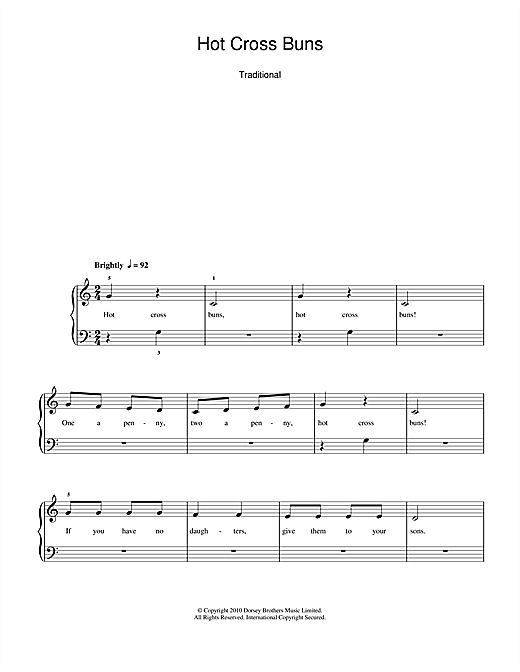 Hot Cross Buns Sheet Music
