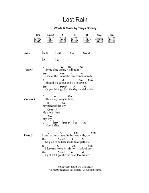 Last Rain sheet music by Tanya Donelly (Lyrics & Chords – 104631)