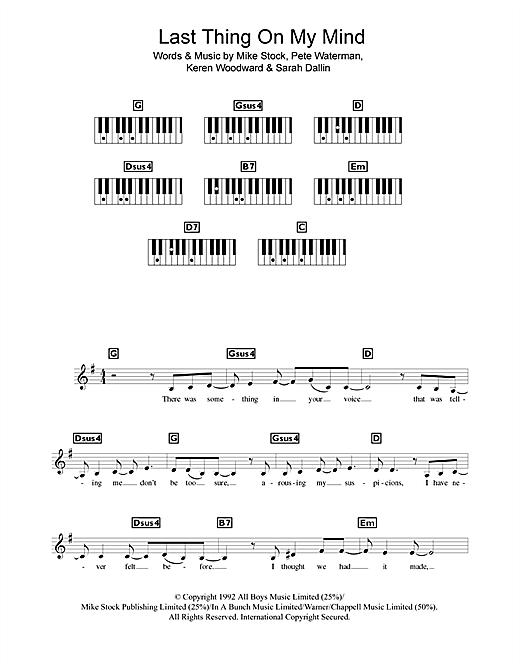 Last Thing On My Mind Sheet Music