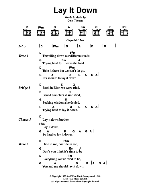 Lay It Down Sheet Music