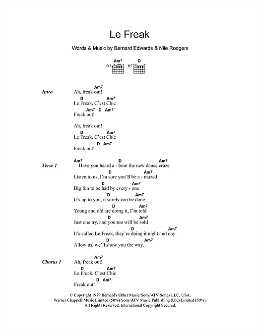 Le Freak (Guitar Chords/Lyrics)
