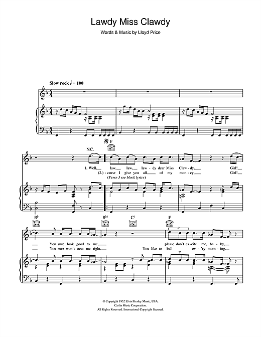 Lawdy Miss Clawdy (Piano, Vocal & Guitar (Right-Hand Melody))