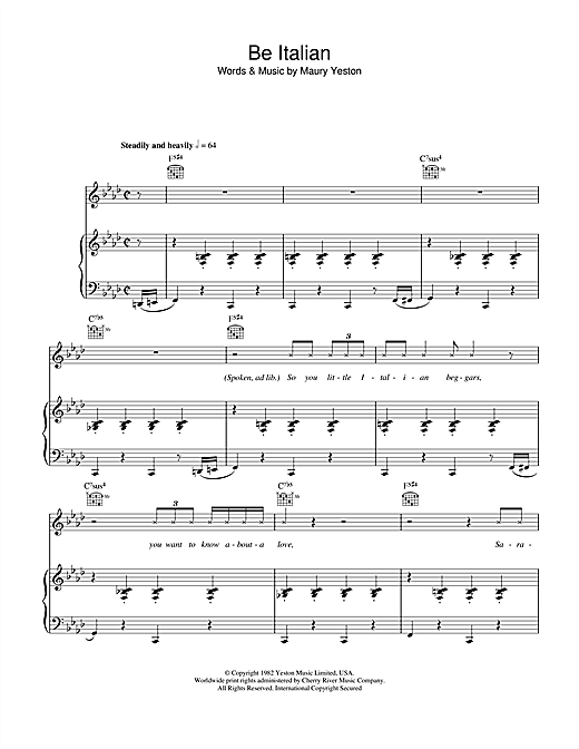 Be Italian Sheet Music