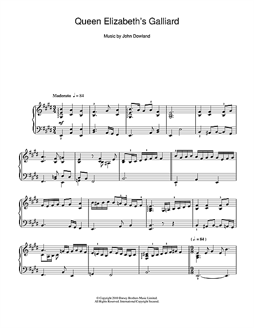 Queen Elizabeth's Galliard Sheet Music