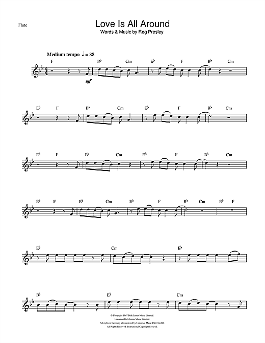 Love Is All Around Sheet Music