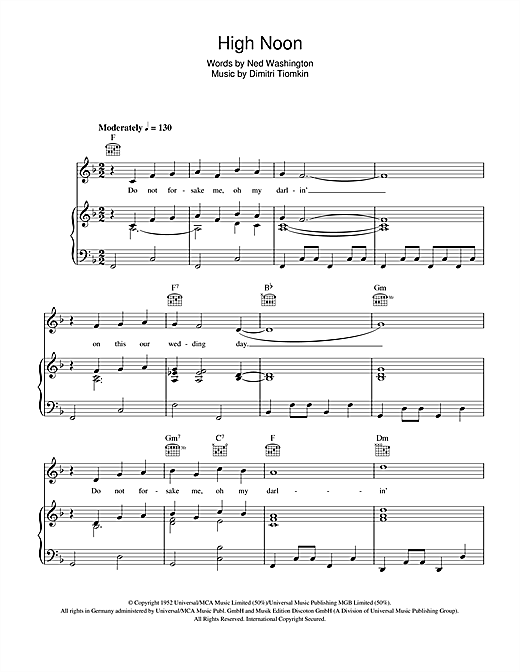 High Noon Sheet Music