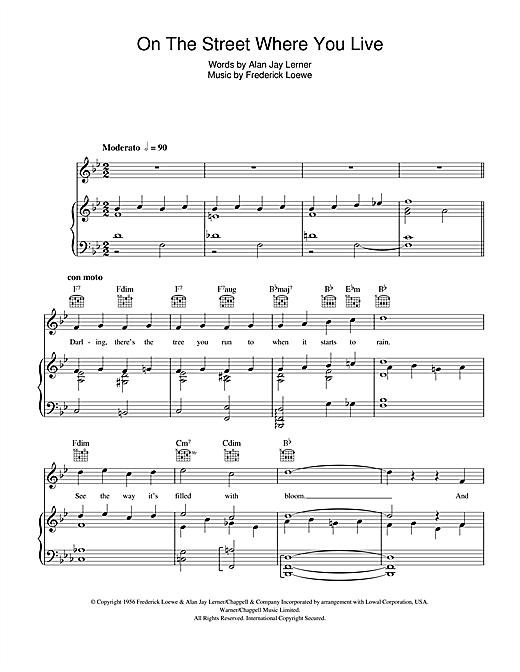 On The Street Where You Live (Piano, Vocal & Guitar (Right-Hand Melody))