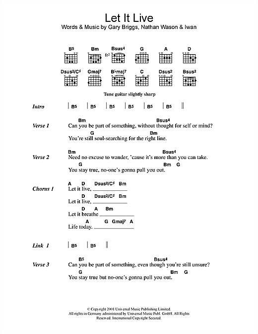 Let It Live (Guitar Chords/Lyrics)
