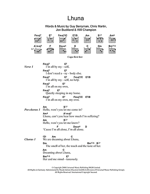 Lhuna (feat. Kylie Minogue) (Guitar Chords/Lyrics)