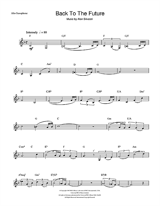 Back To The Future (Theme) Sheet Music