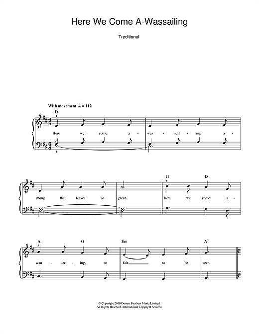 Here We Come A-Wassailing (Piano, Vocal & Guitar (Right-Hand Melody))