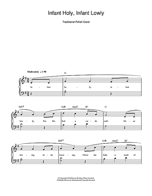 Infant Holy, Infant Lowly (Piano, Vocal & Guitar (Right-Hand Melody))