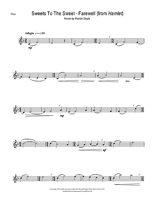 Sweets To The Sweet - Farewell (from Hamlet) Sheet Music