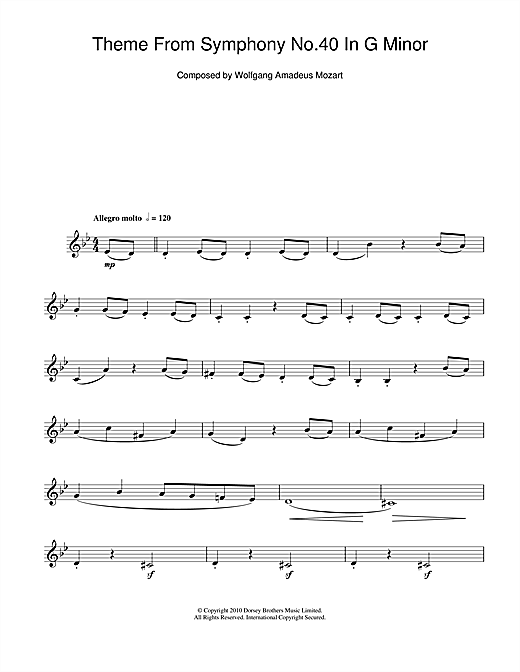 Symphony No. 40 (Theme) Sheet Music