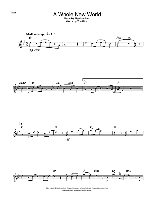 A Whole New World (from Aladdin) Sheet Music