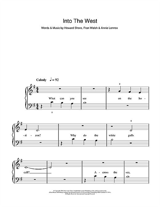 Into The West (from The Lord Of The Rings: The Return Of The King) Sheet Music