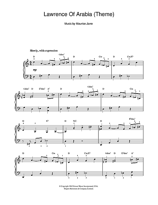 Lawrence Of Arabia (Main Titles) Sheet Music