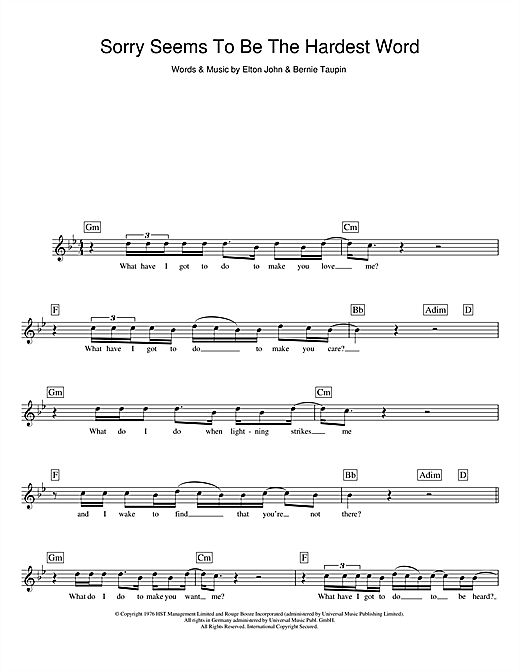 Sorry Seems To Be The Hardest Word chords by Elton John (Melody Line, Lyrics u0026 Chords u2013 104958)
