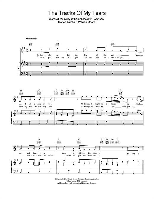 The Tracks Of My Tears (Piano, Vocal & Guitar (Right-Hand Melody))