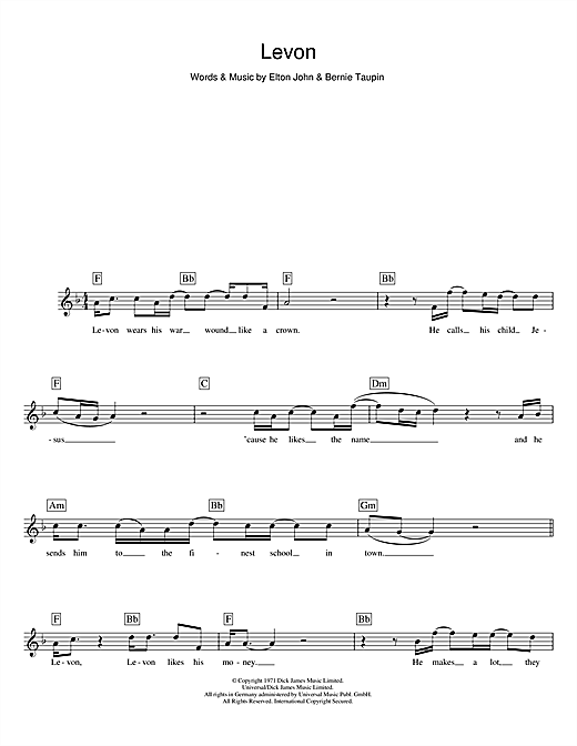 Levon (Lead Sheet / Fake Book)