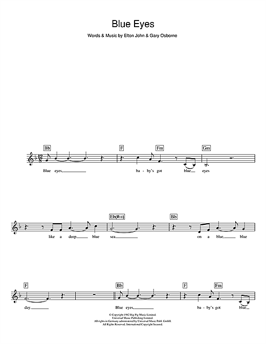 Blue Eyes (Lead Sheet / Fake Book)
