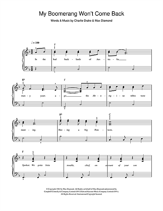 My Boomerang Won't Come Back (Easy Piano)