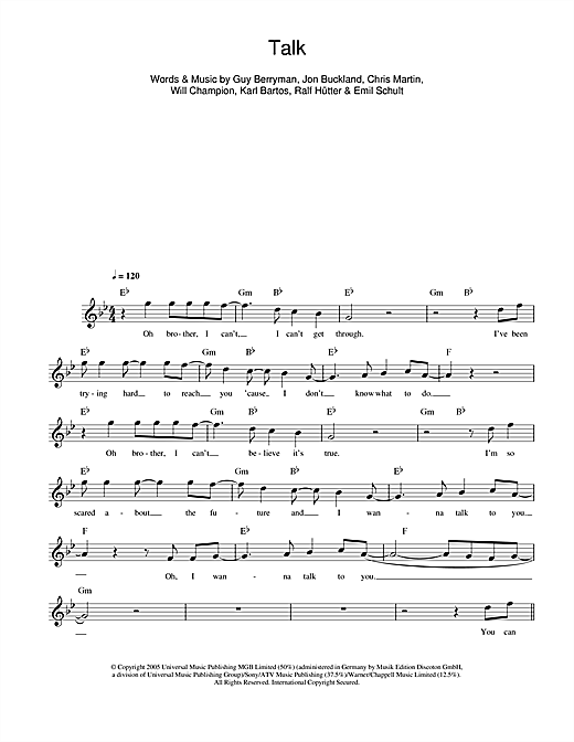 Talk (Lead Sheet / Fake Book)