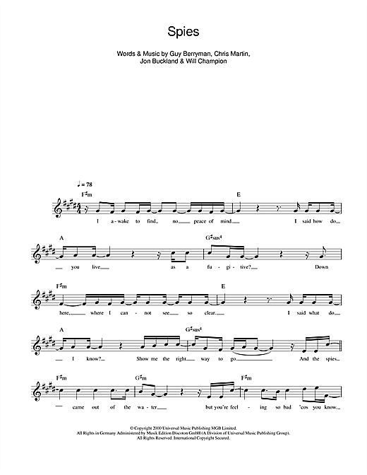 Spies (Lead Sheet / Fake Book)