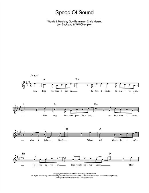 Speed Of Sound Sheet Music