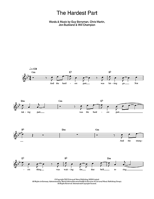 The Hardest Part (Lead Sheet / Fake Book)