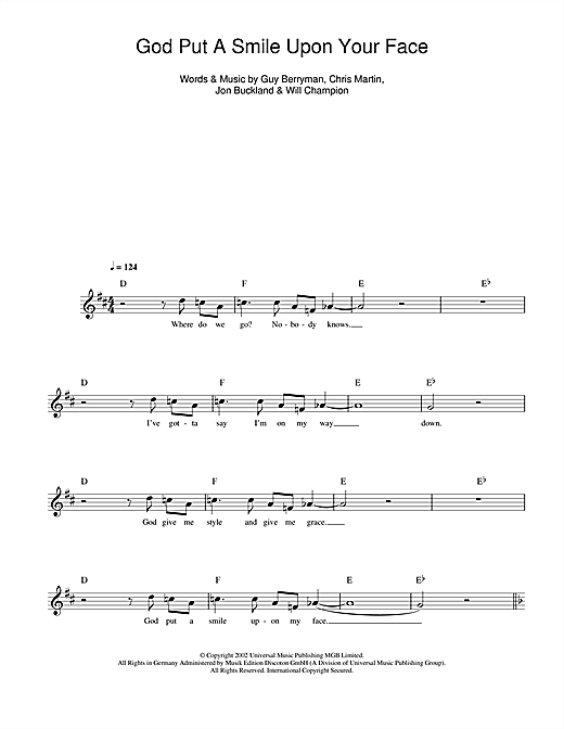 God Put A Smile Upon Your Face (Lead Sheet / Fake Book)