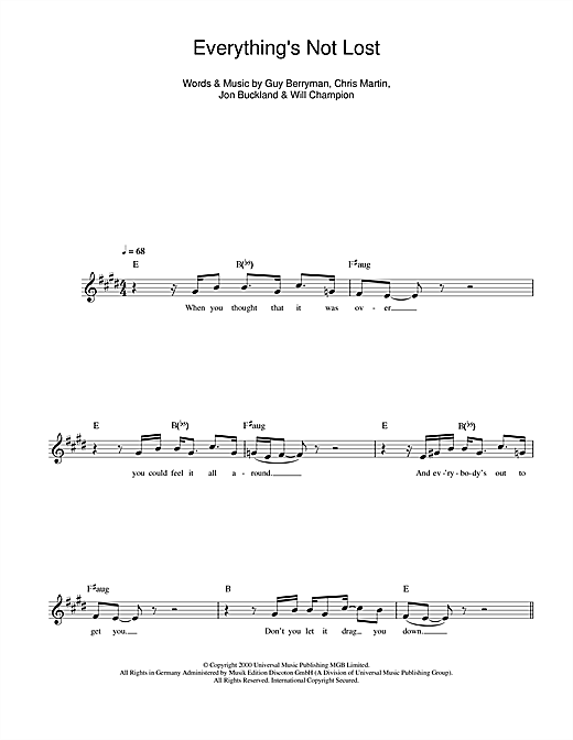 Everything's Not Lost (Lead Sheet / Fake Book)