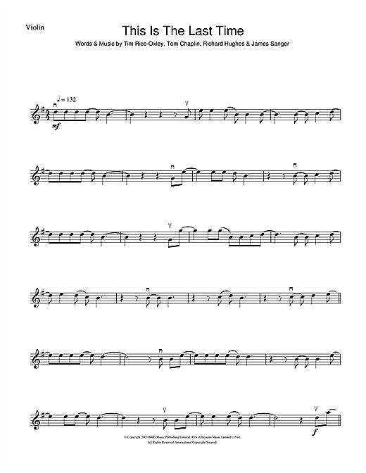 This Is The Last Time Sheet Music